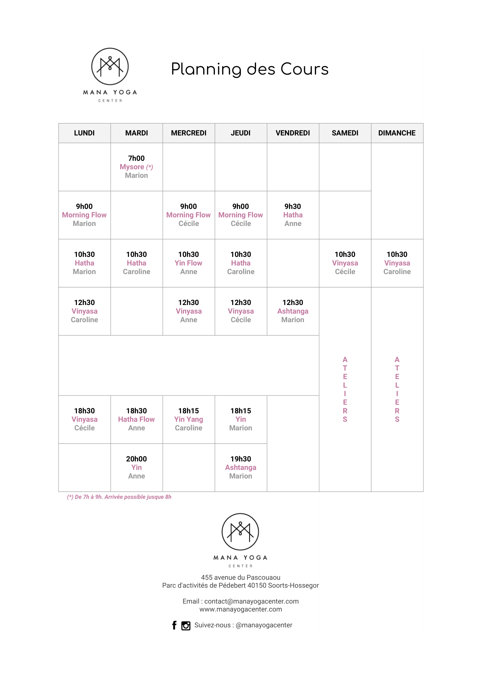 Planning Mana Yoga  Center - Hossegor
